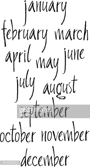 handwritten calligraphy months of year written with a brush