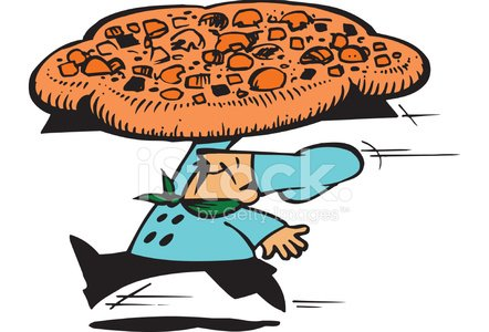 Homem com Pizza Vector Cartoon Clipart