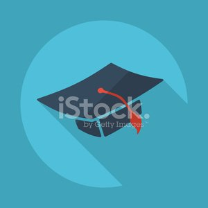 Flat modern design with shadow vector icons: square academic hat