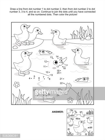 Dot To Dot And Coloring Page Ducklings At The Pond Clipart