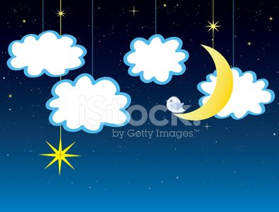 Clouds, Stars and moon