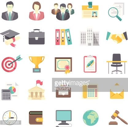 Modern Flat Business Resume Icons On White Premium Clipart