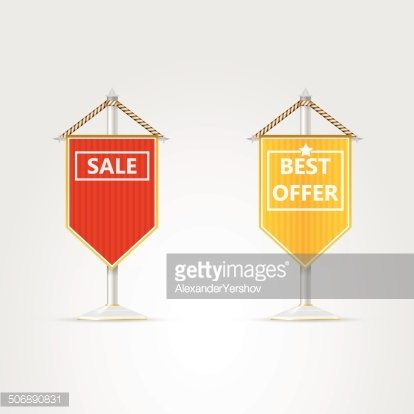 Illustrations of two pennons for sale