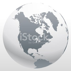 3d World Globe Icon With White Map premium clipart