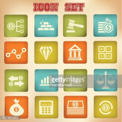 Finance icons,Vintage buttons,vector