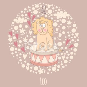 Cartoon illustration of the lion (Leo)