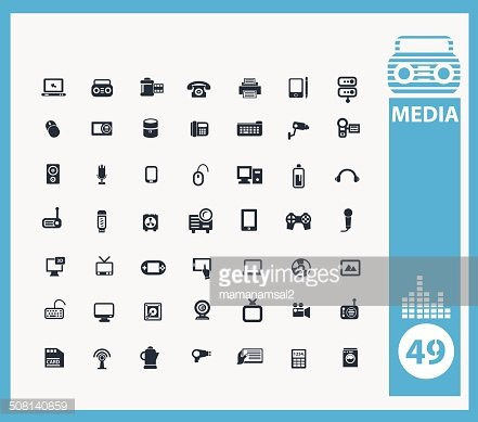 Media and Electronic icons,vector