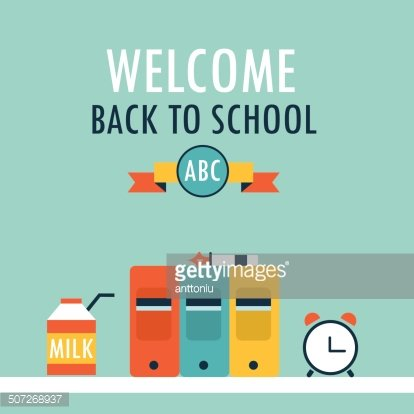 Clip Art of a Black and White School Boy Carrying Books by a Welcome Chalk  Board by Hit Toon - #92