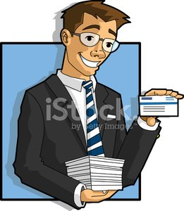 Vector business man holding cards