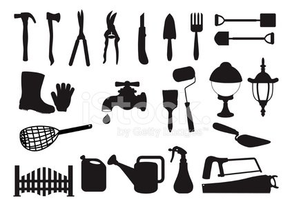 Silhouette : Shovels, Spades, and garden tools