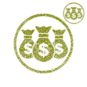 Three money bag vector simple single color icon isolated