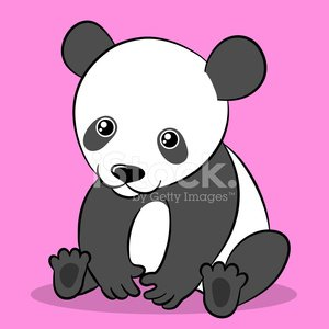 Cartoon cute panda bear looking at camera
