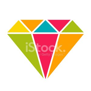 Colorful gemstone icon in simple flat style.