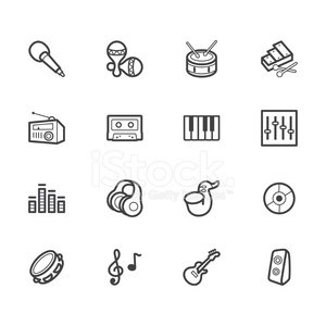 music element vector black icon set on white background