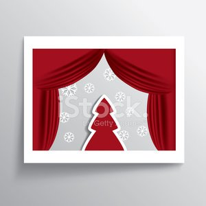 Christmas card illustration design with white frame and christma
