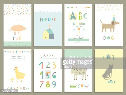 Cards for kids. Farm Animals. Learn to read and count
