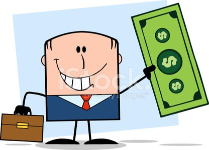 Businessman With Briefcase Holding A Dollar Bill With Background