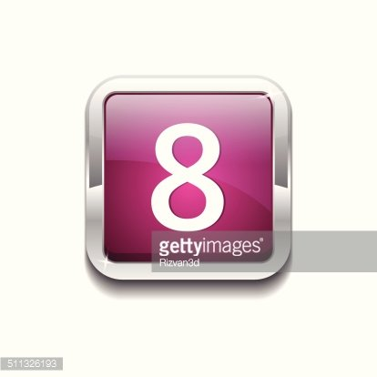 8 Number Rounded Rectangular Vector Pink Web Icon Button