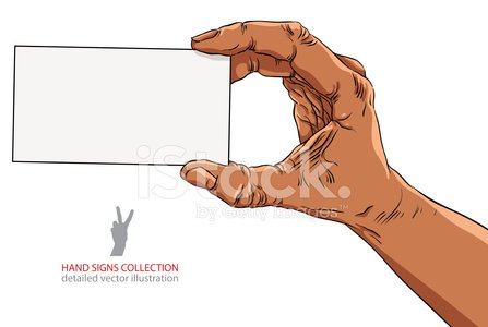 Hand showing business card, African ethnicity, detailed vector
