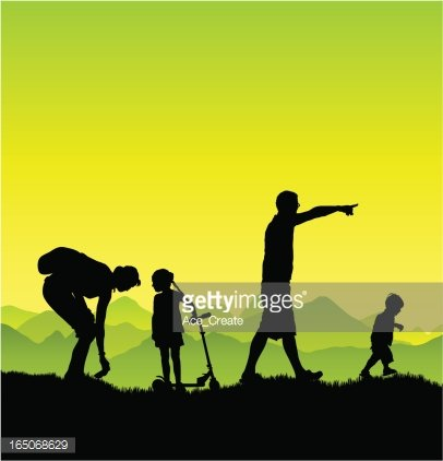 Family jogging. healthy and active family lifestyle. mother, father and  daughter run. sport exercise outdoor. isolated flat