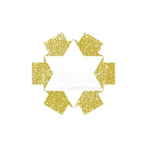 Six point star created with arrows, hand drawn vector symbol