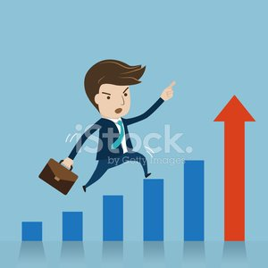 Businessman jumping over growing chart