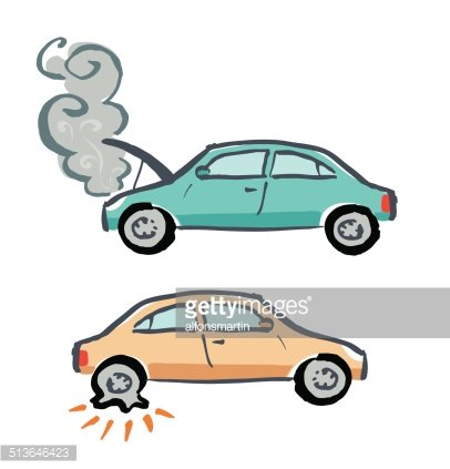 Car With The Engine Damaged And A Flat Tire Premium Clipart