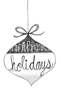Hand Drawn Ornament with Hand Lettered Happy Holidays