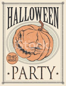 Halloween party poster. Vintage style illustration