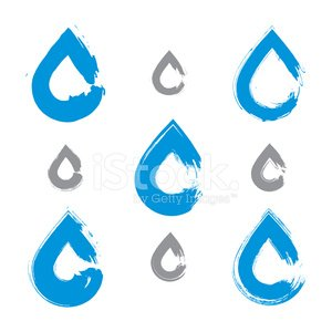 Set of hand-painted blue water drop icons isolated on white