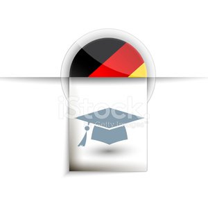 Germany education tag label icon with flag