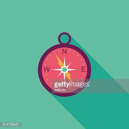 compass flat icon with long shadow