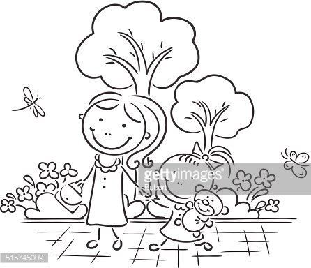 Mother And Daughter In The Park Premium Clipart