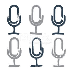 Hand-drawn microphone icons set, brush drawing multimedia signs