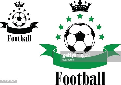 Football or soccer ball symbols with green and black ribbons
