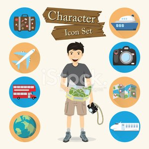 Traveler character Icon set vector