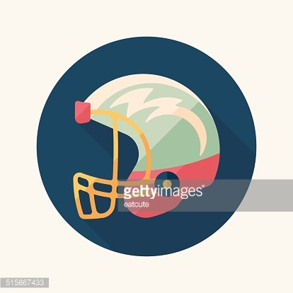 American Football Helmet Flat Icon With Long Shadow Eps10