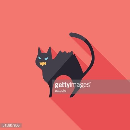 Evil cat flat icon with long shadow,eps10