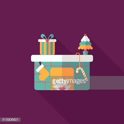 Christmas Fireplace Decoration Flat Icon With Long Shadow