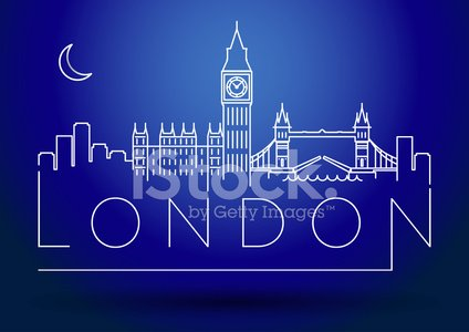 London City Skyline Silhouette Typographic Design