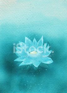 Abstract painted magic green waterlily