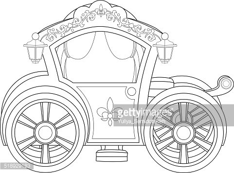 Carriage Coloring Book Page Clipart Image