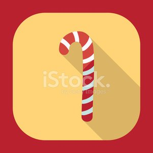 Flat modern design with shadow candy cane
