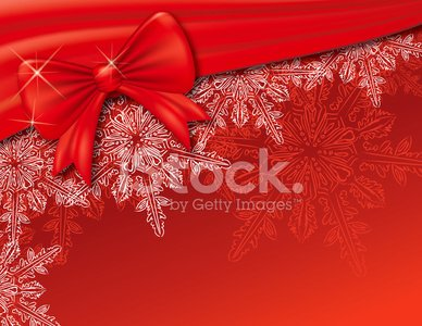Christmas Snowflake and Bow On Red Background