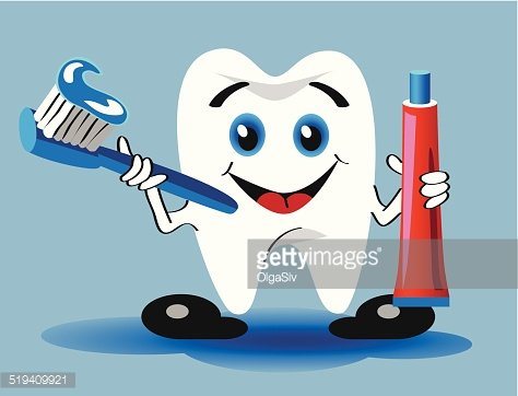 tooth, toothbrush and toothpaste