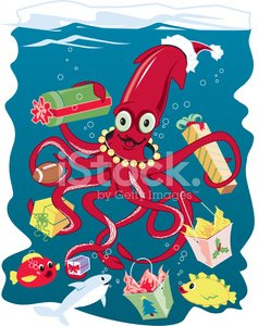 Squid Dressed as Santa Claus and Distributing Presents