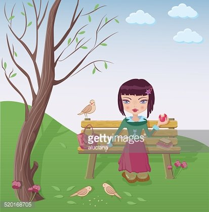 Cute girl having lunch in the park