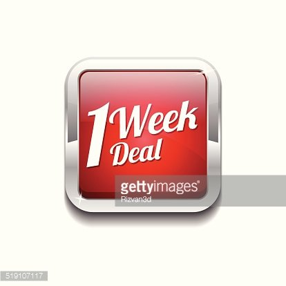 1 Week Deal Red Vector Icon Button