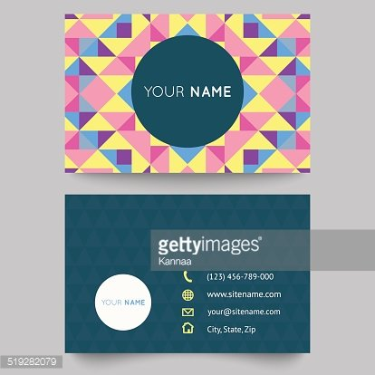 Modele De Carte Visite Abstrait Geometrique Colore