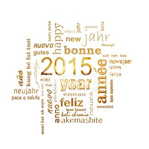 new year 2015 multilingual text word cloud square greeting card